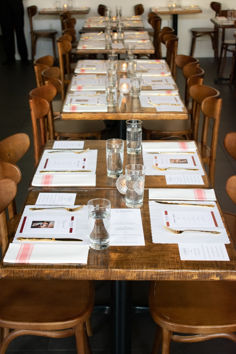 Table Set-Up at A Presto Italian Foods' Pop-up Dinner Event   Washington, DC Event Photographer