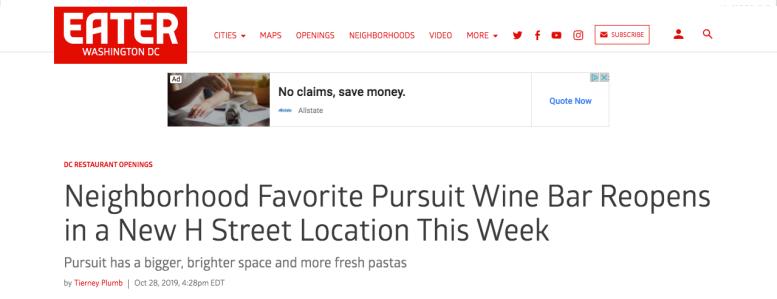 The Pursuit Wine Bar Eater DC